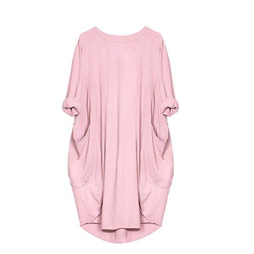 LUCKYCAT Vestido Suelto de Bolsillo para Mujer de Cuello Redondo con Cuello en V Casual Tops Tallas...