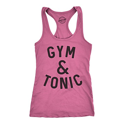 Crazy Dog Tshirts Womens Tank Gym and Tonic Funny Alcohol Drinking Fitness Workout Tanktop for Ladies