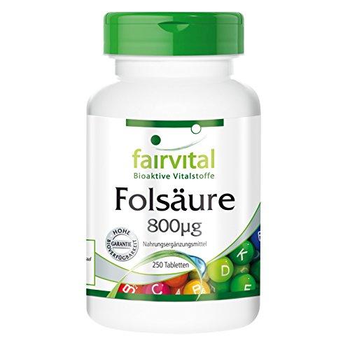 Image of Folsäure 800µg - 250 Tabletten - wasserlösliches Vitamin B9 (Folsäure) - Reinsubstanz