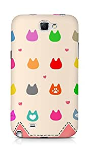 Amez designer printed 3d premium high quality back case cover for Samsung Galaxy Note 2 N7100 (cats)