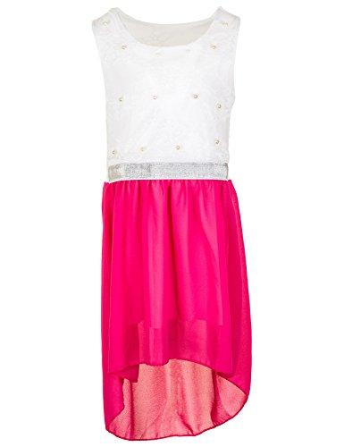 Fashionteam24 Festliches Mädchen Sommer Kleid Perlen Hochzeit Blumenmädchen Kommunion Freizeit M432pi Pink 6/110/116