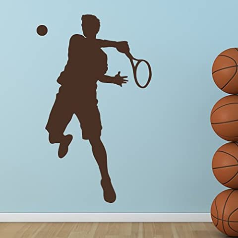 Tennis Player Wall Sticker Sport Adesivo Art disponibile in 5 dimensioni e 25 colori Medio Verde foglia