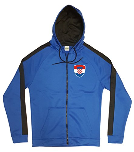 Kroatien Jacke Sweater Royal GO Hrvatska Trikot Look Zip Nation Fussball Sport (S) -