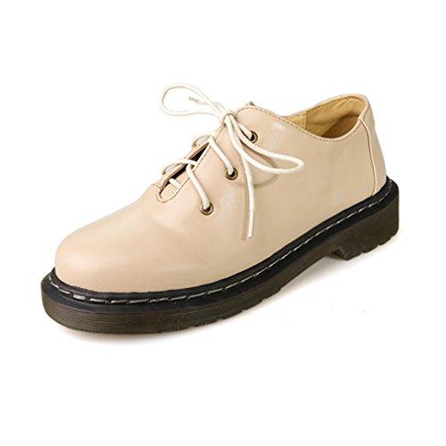 Damen Schnürhalbschuhe Rundzehen Gummi Sohle Anti-Rutsche Tragen Atmungsaktiv Freizeitschuhe Niedrige Bequeme Schuhe Beige