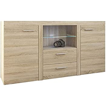 stella trading 88 903 66 juno sideboard eiche sonoma dekor ma e b h t 195 x 97 x 37 cm wei. Black Bedroom Furniture Sets. Home Design Ideas