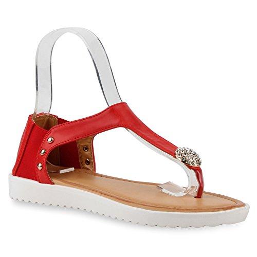 Damen Komfort-Sandalen Metallic Sandale Bequemschuh Profilsohle Rot Brosche