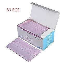 FENG Mundschutz OP Gesichtsmasken Einweg Maske mit Elastikband - 3-lagig, glasfaserfrei und latexfrei, 50 Stück Box (Rosa)