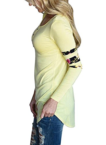Ibelive -  Maglia a manica lunga  - A righe - Donna Yellow