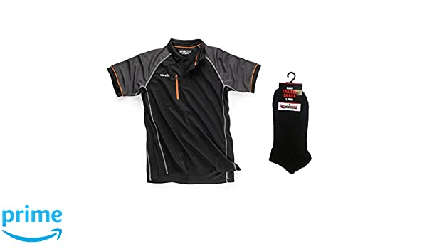 Scruffs Trade Active Polo Shirt Grey /& 3 Pairs of Mad4Tools Trainer Socks