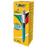 BIC 4-Farb-Druckkugelschreiber Grip – 4 in 1 Kugelschreiber – Rot, Blau, Schwarz und Grün – Dokumentenecht – Mit Gummi-Griffzone – Nachfüllbar – Strichstärke 0,4mm – Stifte Set mit 12 Mehrfarbenstiften