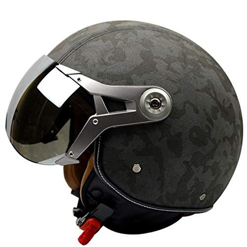 NJ Helm- Motorradhelm Four Seasons Herren Retro Air Force Helm (Farbe : Camouflage green, größe : L) (Helm Air Force)