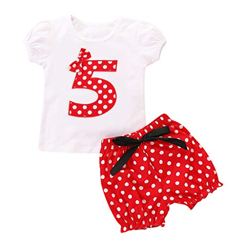 Baby Mädchen Kleidung Set Kurzarm Rundhals Rose Print Strampler Rüschen Plissee Solid Color Rock Outfit Set 2 Stücke Anzahl Stickerei Dot Print Tops T-Shirt Shorts Outfits Set Plissee Dot