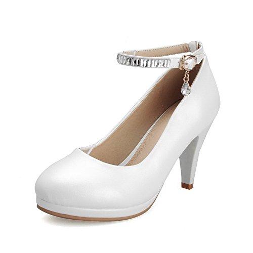 VogueZone009 Femme Boucle Rond à Talon Haut Pu Cuir Mosaïque Chaussures Légeres Blanc