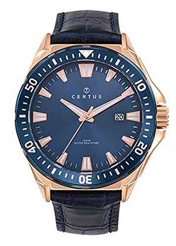 Certus–Reloj Hombre–h612m344–Pulsera Cuero Azul–Caja Acero Dorado Rosa–Esfera Azul