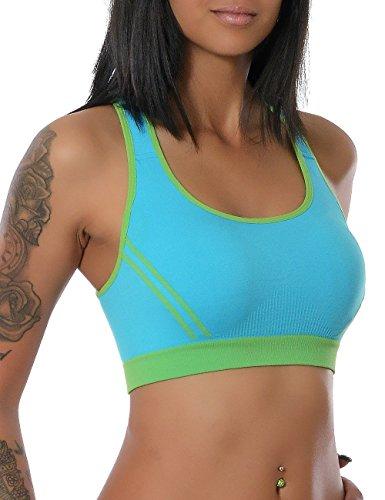 Damen Yoga Sport Push-Up BH Ohne Bügel (weitere Farben) No 13943, Farbe:Türkis;Größe:S / M