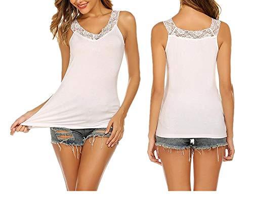 Unibelle Damen Unterhemden Spaghettiträger | Basic Wohlfühl Mikrofaser Tank Tops ohne Bügel - Damen-mikrofaser-bügel-hemdchen