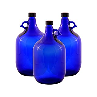 Glass balloon Bottle Gallon Blue glass Bottle 2 Liter or 5 Liter Screw cap Synthetic black - Henk eleven tab blue glass, ideal for Aquadea Crystal - Swirl Water, Two Litre or Five Litre - 3 x 5 Liter