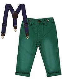 The Essential One - Bébé Enfant Garçon Pantalon Fashion Chino avec Bretelles - Vert - EOT482