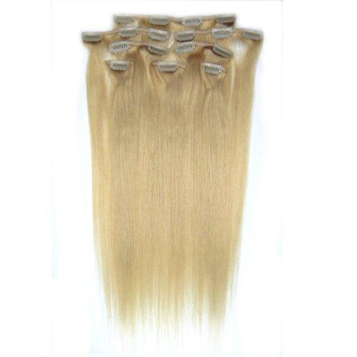 100% cheveux remy Lot de 8 55,9 cm Blond Cendre (# 24) cheveux raides à clipser pour extension de cheveux Poids : 100 g