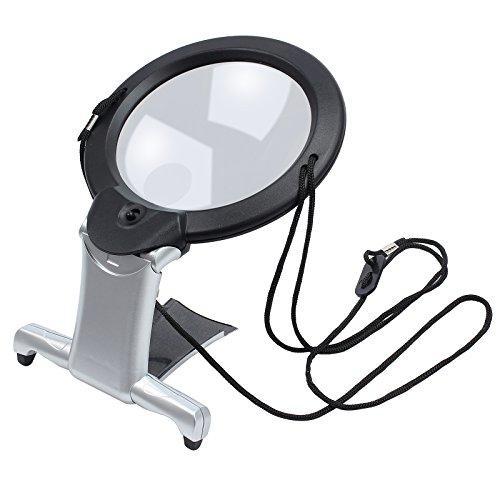 Rhinocoeu 2 in 1 Lupe mit LED Beleuchtung und Umhängekordel handfrei Magnifier Vergrößerungsglas...
