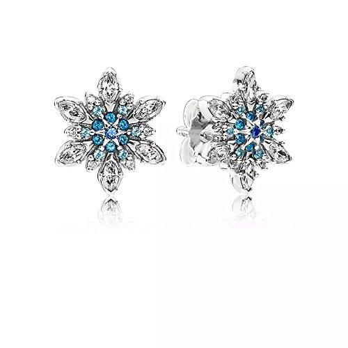 Stone beads, orecchini a buco, a forma di cristalli di neve, blu ghiaccio. argento 925