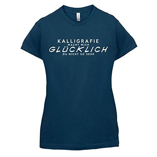 Kalligrafie macht mich glücklich - Damen T-Shirt - 14 Farben Navy