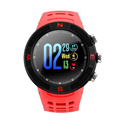 ♚Seven Fitness-Tracker Schrittzähler Smart Watch Armband 3D-Bildschirm IP68 Wasserdichte GPS-Positionierung Informationen An Langes Leben Zu Erinnern,Red