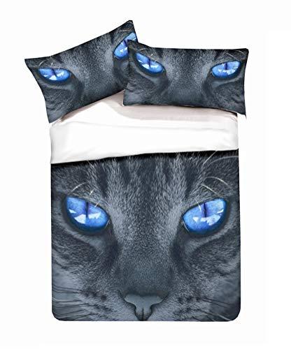 LanS Auge Schwarze Katze Tier Bettbezug Bettwäsche Set - Bettbezug und Kissenbezug, dreiteiliger Bettwäsche (Bettbezug + 2 Kissenbezüge) Single Doppel Bett (B,Single-135x210cm)