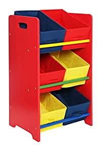 Premier Housewares 3-Tier Storage Unit with Pine Frame and 6 Canvas Tubes