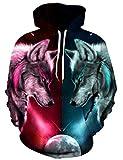 Loveternal Wolf Hoodie Männer Bunte 3D Gedruckt Pullover Unisex Langarm Gemustert Sweatshirts für Jugendliche Jumper L/XL