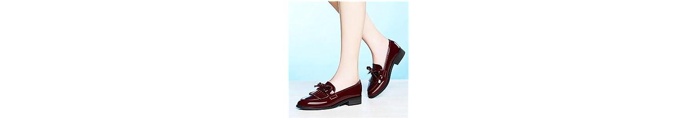 KHSKX-El Rojo De Inglaterra El Retro-Su Primavera Y Otoño Nuevos Zapatos De Mujer Punto Solo Zapatos De Fondo... -