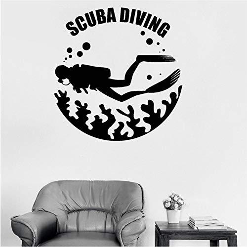Mbambm Tauchen Vinyl Wandtattoo Taucher Sea Life Waschraum Wand Dekor Marine Rs Wandbild Top Qualität Wasserdichte Tapete 56 * 58 Cm