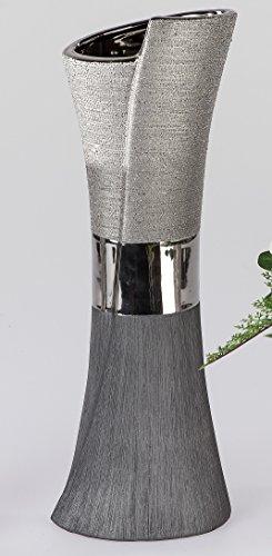 Moderne Deko Vase Blumenvase aus Keramik Luxor silber 40x14 cm