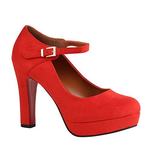 Stiefelparadies Damen Schuhe Pumps Mary Janes Blockabsatz High Heels T-Strap 157038 Rot Brito 37 Flandell (Schuhe Für Ein Kleid)