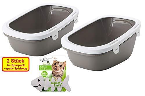 PETGARD 2er Sparpack Katzentoilette Katzenklo Schalentoilette Simba mit Rand + Siebeinsatz + gratis Spielzeug warmgrey-Weiss