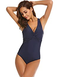 ADOME Damen Badeanzug Sommer Bademode Basic Monokini Sexy Bikini Tankini  Push-up Einteiler Retro Gepolstert 23f4dd4d2a