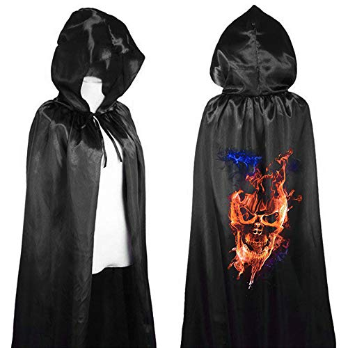 Gloaming Halloween Long Black Capes mit Kapuze, Samt Hexe Cape Flame Skull Print Horror Skelett Mantel Cosplay Kostüm