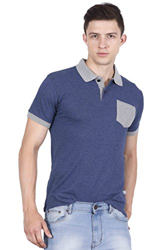 3c3350827 Buy Fanideaz Men s Half Sleeve Cotton Denim Blue Polo T-Shirt for Men with  Pocket on Amazon