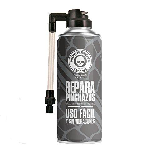 Motorrevive | Repara Pinchazos Para Coche y Moto | Kit antipinchazos para la reparación de neumáticos | Kit sellador e hinchador reparador para reparar pinchazos de ruedas y neumáticos de coche y moto | Hincha la rueda | 500 ml