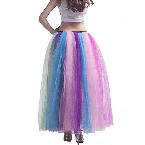 Sunzeus Frauen Regenbogen Tutu Rock Petticoat bodenlangen Unterrock Krinoline Slips für Leistung bunte große Pendel Casual Rock Bildfarbe 2