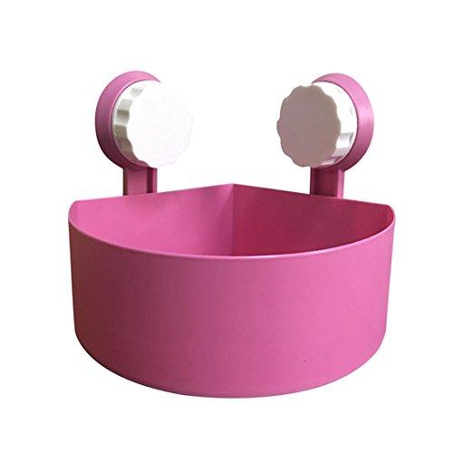 Gaddrt Plastik Saugnapf Badezimme Küche Eck Speicher Zahnstange Organisator Dusche Regal Haken zum Einhängen Badregal Bad Utensilo(Rosa)
