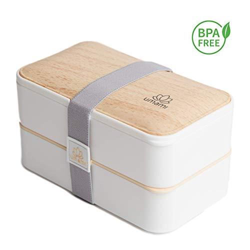 Umami Bento Original Weiss -Lunchbox Mit 2 LuftdichtenFächern Plus 3-Teiligem, RobustenBesteck |Geeignet Für Erwachsene Und Kinder|Spülmaschinen- Und Mikrowellenfest