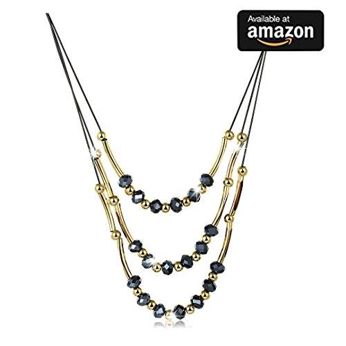 Jewelry rarità Fashion multistrato femmina zaffiro perline collana maglione catena gioielli con perline con cristallo collana