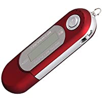 Ecloud Shop Mini Reproductor MP3 Rojo 4GB FM Radio Grabadora De Voz Mic USB Flash Drive