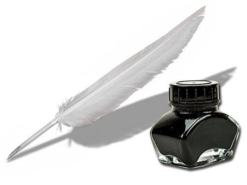 Schreibfeder weiß 22-25cm schreibfertig + 30ml schwarze Kalligraphie Tinte - Forum Traiani - Zeichentusche black ink