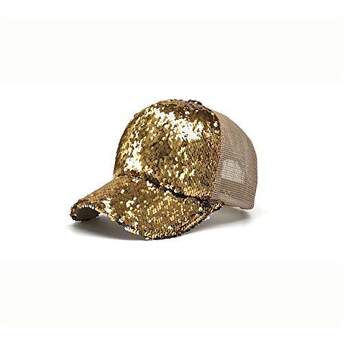 Gezeiten-vorbildliche Sequin-Ineinander greifen-Sonnenschutz-im Freien Sun-Baseballmütze Frau New Hut (Color : Gold, Size : 54-62cm)