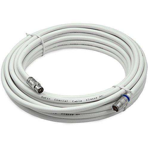Satix SKK01003 Koaxialkabel F-Schnell-Stecker Horizon Box Modemkabel F/IEC-Kabel, 10m weiß