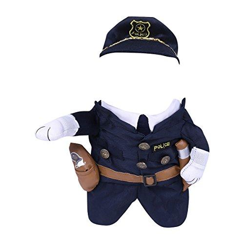Kostüm Hai Katze Hund (Freebily Pet Kostüm Haustier Hund / Katze Cosplay Polizei Hoodie Cool Uniform mit Mütze niedlich Style - 4 Größe wählbar Marineblau)