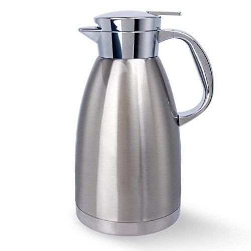 YIKALU Jarra Térmica Térmico al Vacío 1,8L Jarra Isotérmica de Acero Inoxidable Termo Cafetera Doble Pared Vacío para calientes y frías Café Jugo Leche Té, Plata