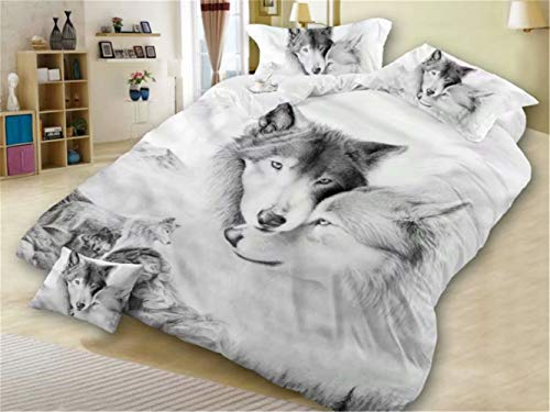 Wolf Single Duvet Bettbezug & Kissenbezug Bettgarnitur Wolf Animal Print Design 3D Wolf Kopfbettbezug Bettwäsche,220 * 240cm -